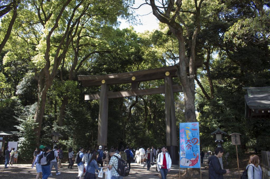 Torii Tor am Eingang zur Meiji Schrein Anlage